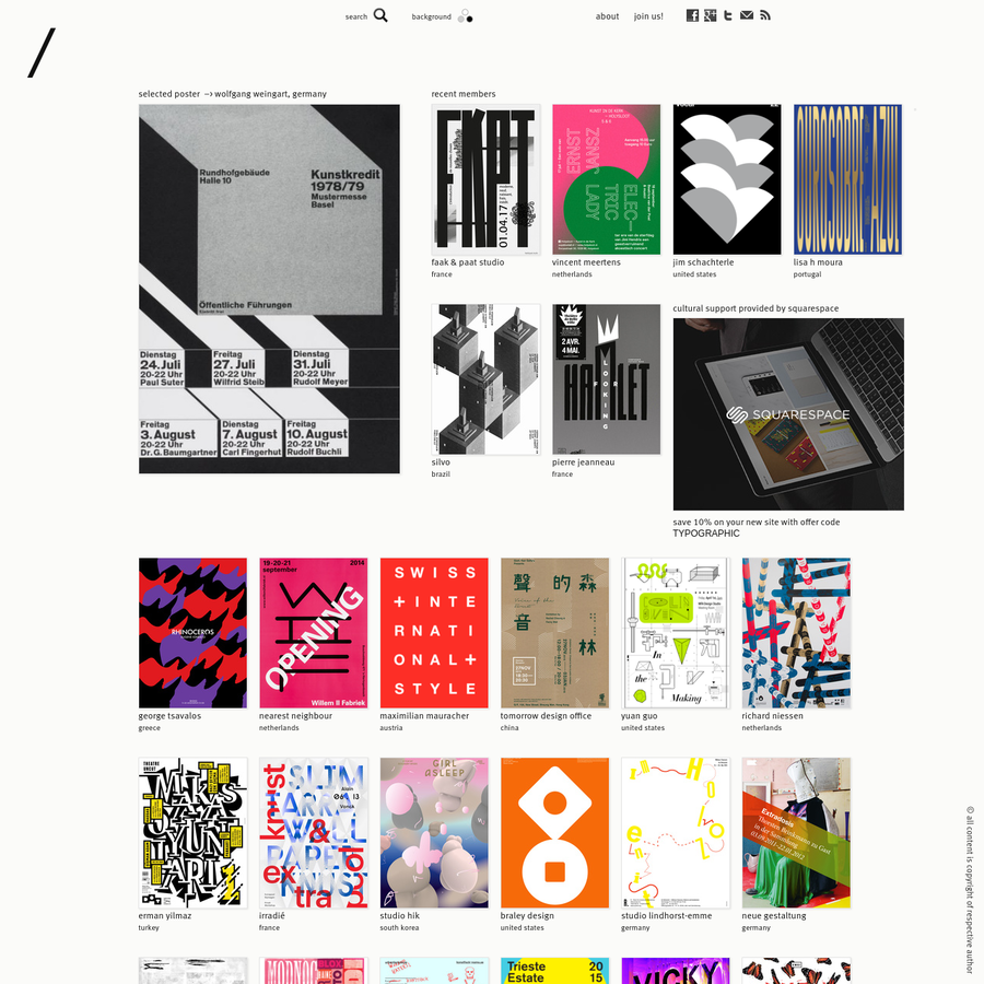 a directory of typographic and graphic posters. a curated platform with a focus on typography and pure forms of graphic design.