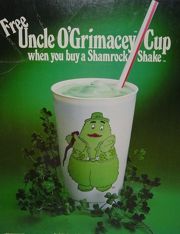 The**Shamrock Shake**, a green-dyed mint-flavored milkshake, is a seasonal dessert sold at[McDonald's](http://en.wikipedia.org/wiki/McDonald%27s)during parts of February, March, and early parts of April to celebrate[St. Patrick's Day](http://en.wikipedia.org/wiki/St._Patrick%27s_Day).-click to add a description