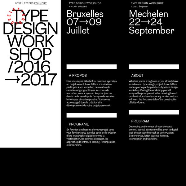 Que vous soyez débutant ou que vous ayez déjà un projet avancé, Love-letters vous invite à participer à son workshop de création de caractères typographiques. Au cours du workshop, vous acquerrez les principes du dessin de lettres d'après l'analyse de modèles historiques et contemporains.
