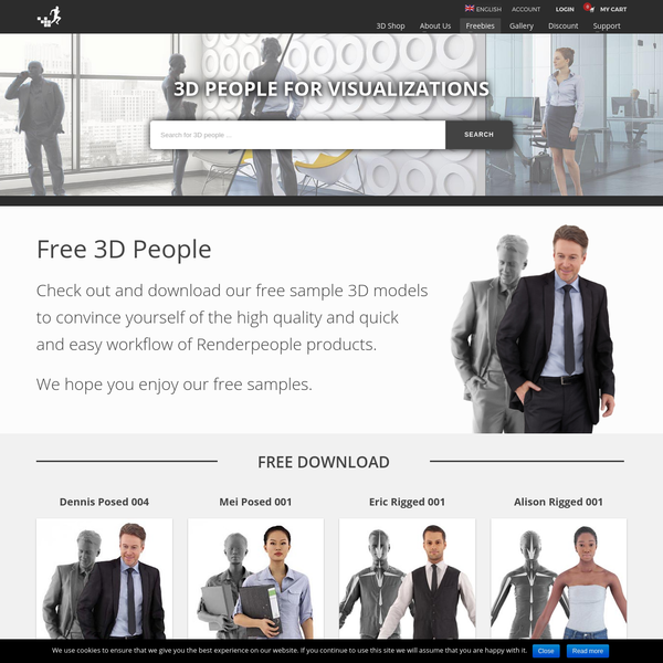 Free Posed, Rigged & Animated 3D People   RENDERPEOPLE