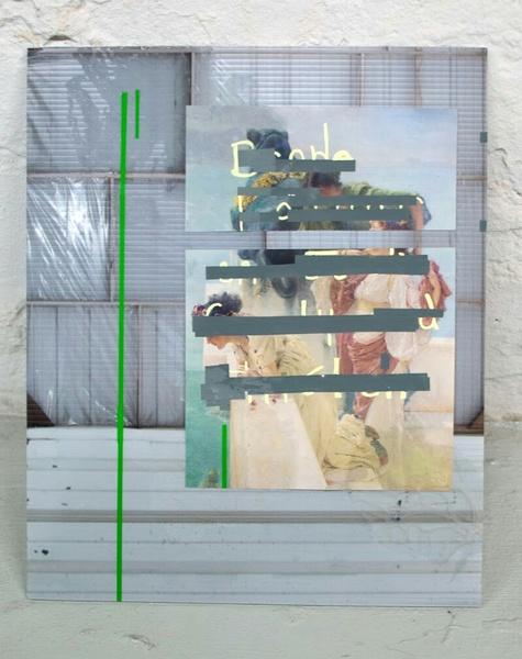 Found image, vinyl, acrylic paint, digital print on corrugated plastic.