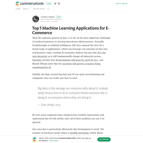 Top 5 Machine Learning Applications for E-Commerce - commercetools tech