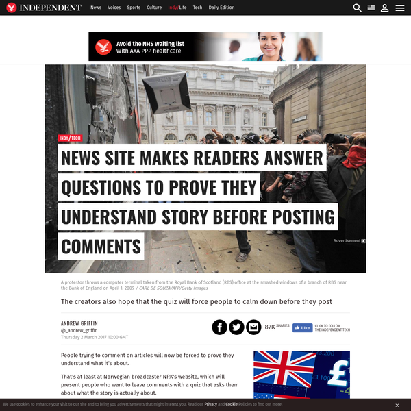 People trying to comment on articles will now be forced to prove they understand what it's about. That's at least at Norwegian broadcaster NRK's website, which will present people who want to leave comments with a quiz that asks them about what the story is actually about.