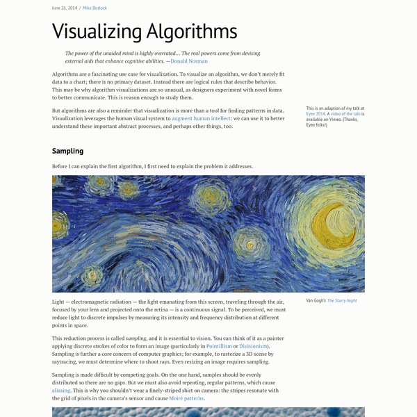 Algorithms are a fascinating use case for visualization. To visualize an algorithm, we don't merely fit data to a chart; there is no primary dataset. Instead there are logical rules that describe behavior. This may be why algorithm visualizations are so unusual, as designers experiment with novel forms to better communicate.