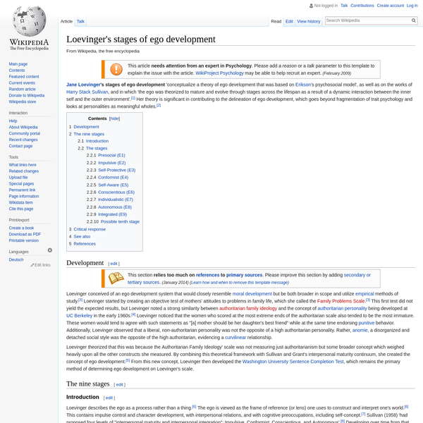 Loevinger's stages of ego development - Wikipedia