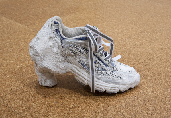 Lauren Elder + Amalia Ulman, Women's I/s PRO 3D Ultra e Vent Hiking Shoe, 2013. Running shoe, concrete, metal structure and reflective laces, 11 x 4 x 7 inches