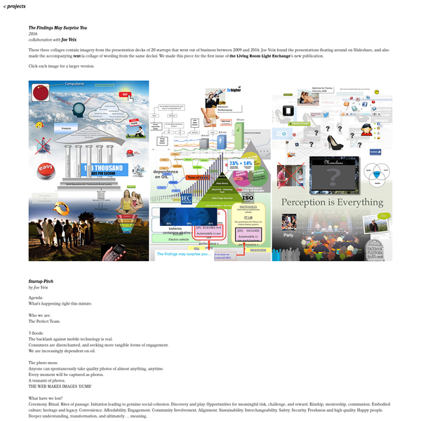 collages made from defunct startups' presentations decks