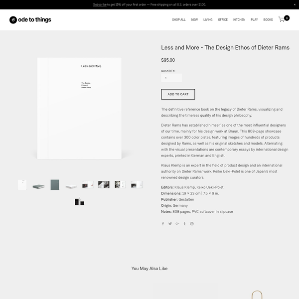 The definitive reference book on the legacy of Dieter Rams, visualizing and describing the timeless quality of his design philosophy. Dieter Rams has established himself as one of the most influential designers of our time, mainly for his design work at Braun. This 808-page showcase contain