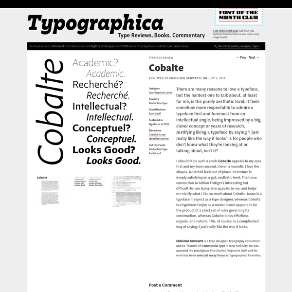There are many reasons to love a typeface, but the hardest one to talk about, at least for me, is the purely aesthetic level. It feels somehow more respectable to admire a typeface first and foremost from an intellectual angle, being impressed by a big, clever concept or years of...
