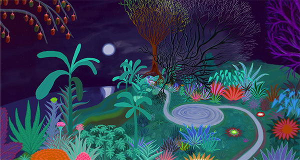 A dreamy illustration of a garden, mainly teal, green and dark purple with highlights in pink and blue.