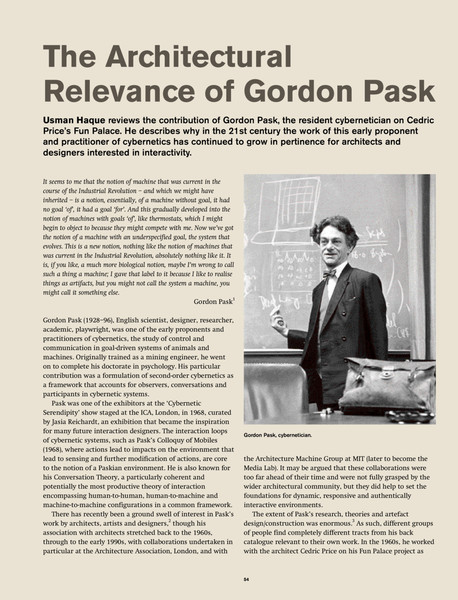 Architectural Relevance of Gordon Pask