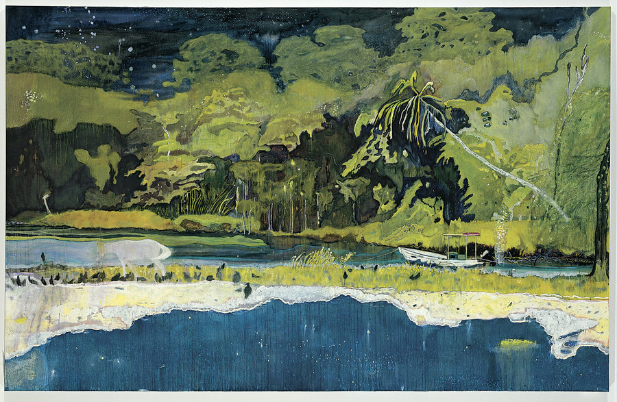 """""""Grand Riviere"""" by Peter Doig (Oil on canvas, 2001)"""