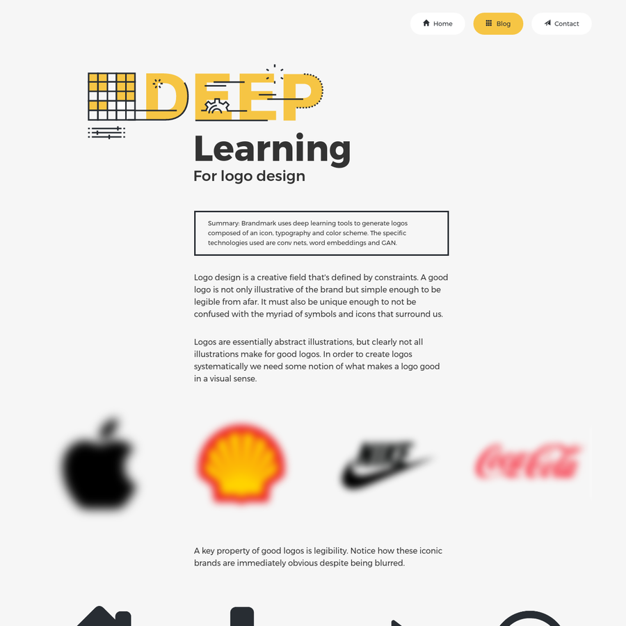 The deep learning techniques used in the Brandmark logo maker