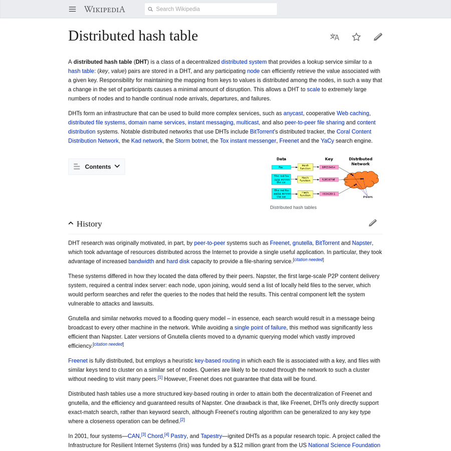 A distributed hash table ( DHT) is a class of a decentralized distributed system that provides a lookup service similar to a hash table: ( key, value) pairs are stored in a DHT, and any participating node can efficiently retrieve the value associated with a given key.