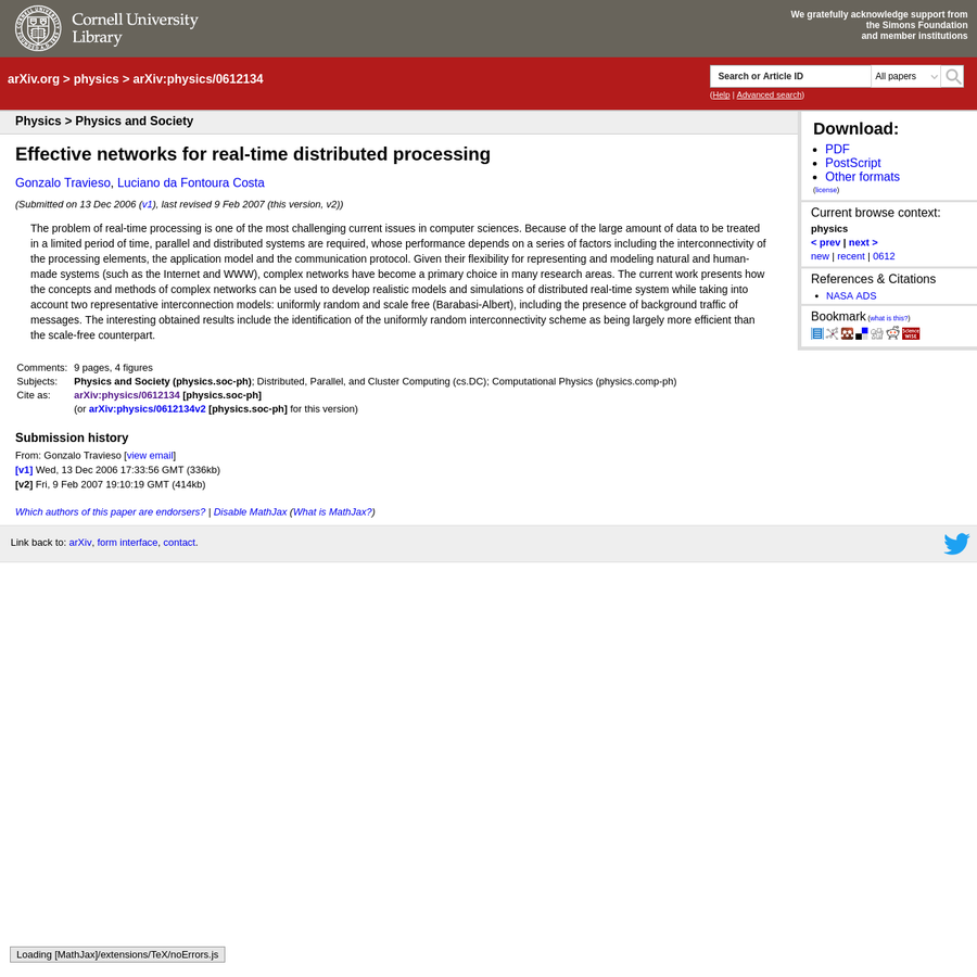 Abstract: The problem of real-time processing is one of the most challenging current issues in computer sciences. Because of the large amount of data to be treated in a limited period of time, parallel and distributed systems are required, whose performance depends on a series of factors including the interconnectivity of the processing elements, the application model and the communication protocol.