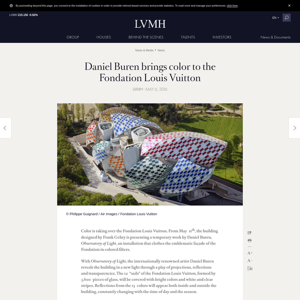 Color is taking over the Fondation Louis Vuitton. From May 11 th, the building designed by Frank Gehry is presenting a temporary work by Daniel Buren, Observatory of Light, an installation that clothes the emblematic façade of the Fondation in colored filters.