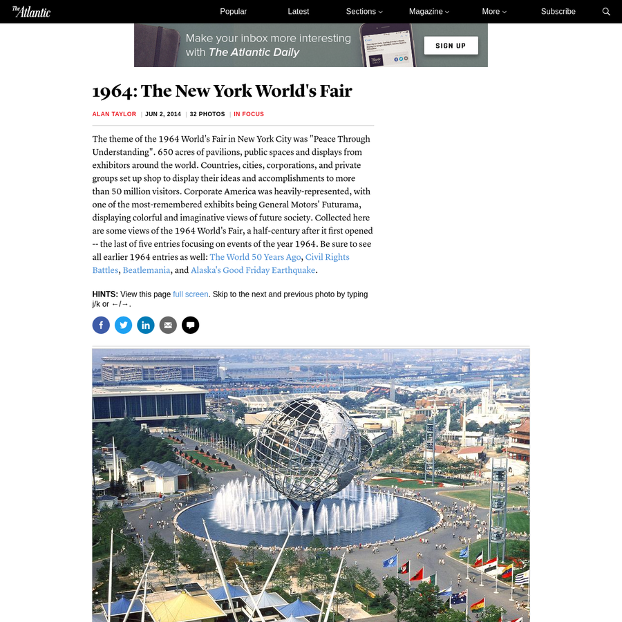 """The theme of the 1964 World's Fair in New York City was """"Peace Through Understanding"""". 650 acres of pavilions, public spaces and displays from exhibitors around the world. Countries, cities, corporations, and private groups set up shop to display their ideas and accomplishments to more than 50 million visitors."""