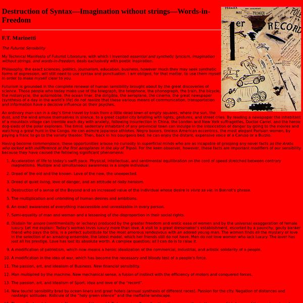 Destruction of Syntax - Marinetti