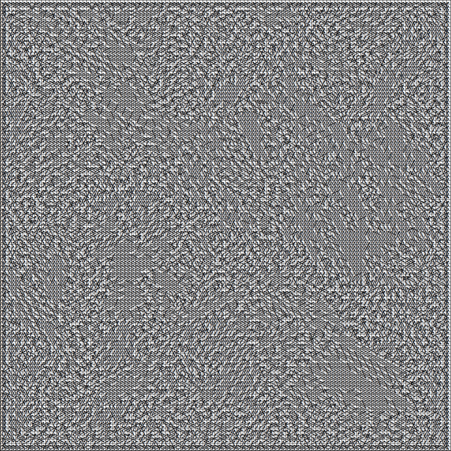 The following knight's tour is on a 120x120 chessboard, which has 14,400 squares. Therefore it would take a knight 14,400 moves to complete the circuit, which would take 4 hours to perform in the real world at one move per second with a real chess piece, assuming you don't make any mistakes. Oh, and if each square is 1 inch by 1 inch, the board would be 10 feet on a side.