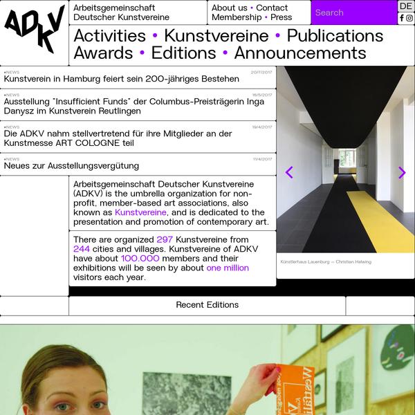 Arbeitsgemeinschaft Deutscher Kunstvereine (ADKV) is the umbrella organization for non-profit, member-based art associations, al