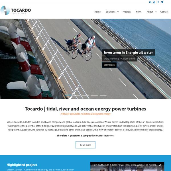 Tocardo   tidal, river and ocean energy power turbines