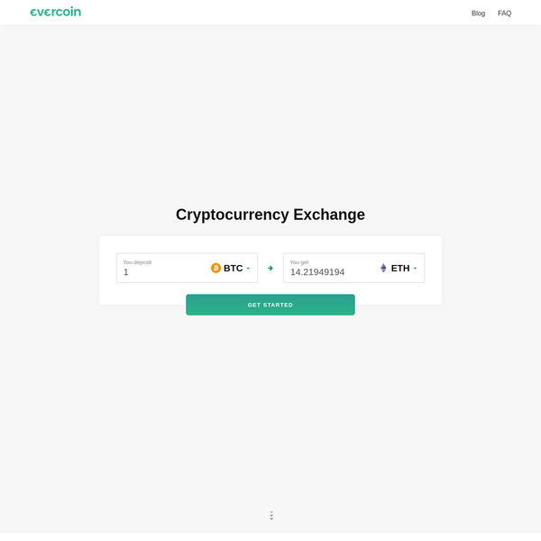 Evercoin is an easy instant-access cryptocurrency exchange. No account required
