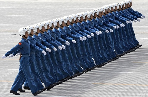 Members of China's Air Force battalion rehearsing for National Day parade in Beijing on September 10, 2009