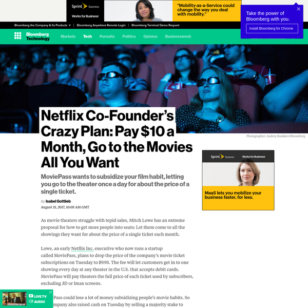 As movie theaters struggle with tepid sales, Mitch Lowe has an extreme proposal for how to get more people into seats: Let them come to all the showings they want for about the price of a single ticket each month. Lowe, an early Netflix Inc.