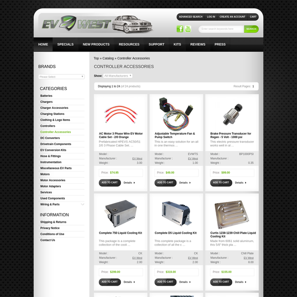 Controller Accessories, EV West - Electric Vehicle Parts, Components, EVSE Charging Stations, Electric Car Conversion Kits