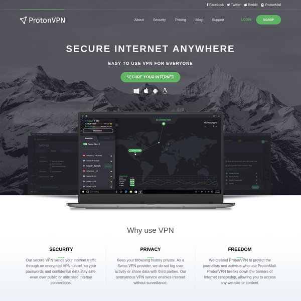 ProtonVPN is a security focused VPN service, developed by CERN and MIT scientists. Use the web anonymously, unblock websites & encrypt your connection.