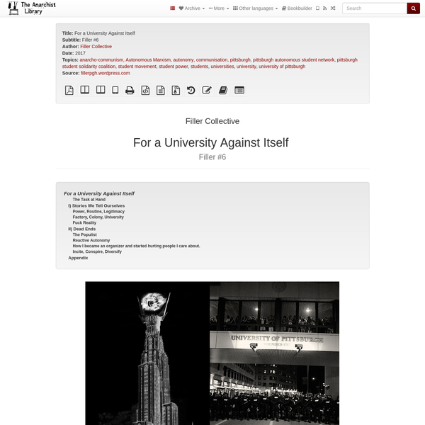 For a University Against Itself | The Anarchist Library