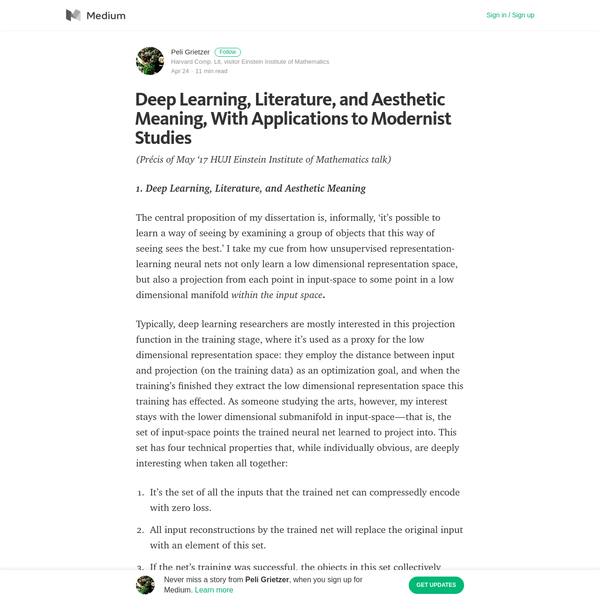 Deep Learning, Literature, and Aesthetic Meaning, With Applications to Modernist Studies
