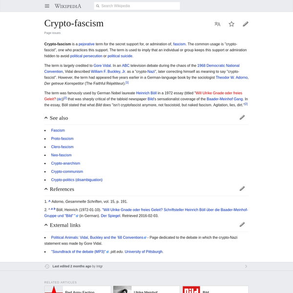 """Crypto-fascism is a pejorative term for the secret support for, or admiration of, fascism. The common usage is """"crypto-fascist"""", one who practices this support. The term is used to imply that an individual or group keeps this support or admiration hidden to avoid political persecution or political suicide."""