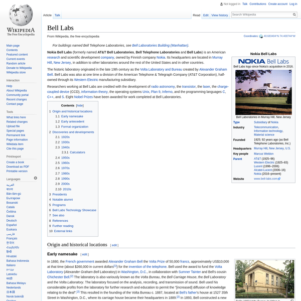 Bell Labs - Wikipedia