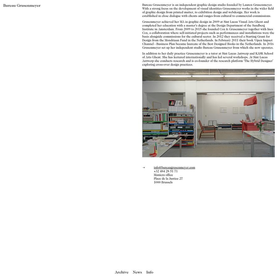 Personal website of Bureau Lauren Grusenmeyer, based in Brussels.
