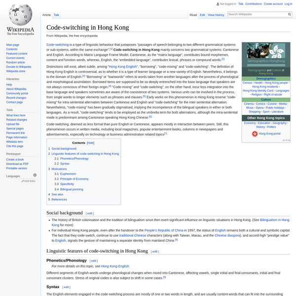 Code-switching in Hong Kong - Wikipedia