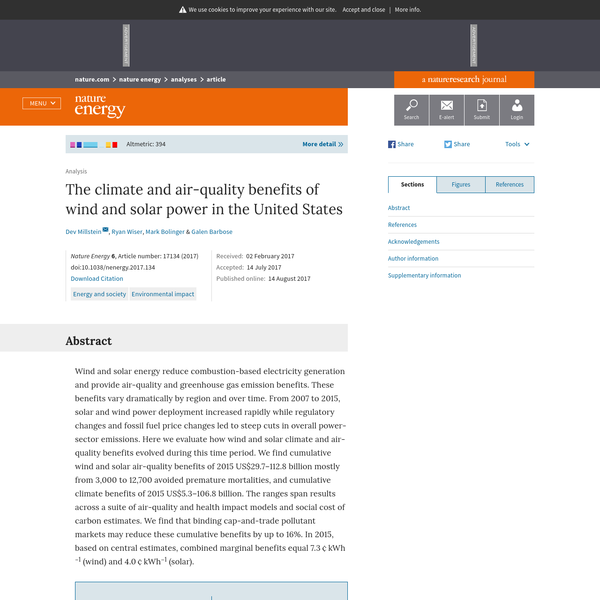 Clean energy sources bring environmental and health benefits by reducing traditional electricity sources. Millstein et al. analyse data from 2007-2015 on the expansion of solar and wind power in the US to explore impacts in terms of air pollution, avoided emissions…