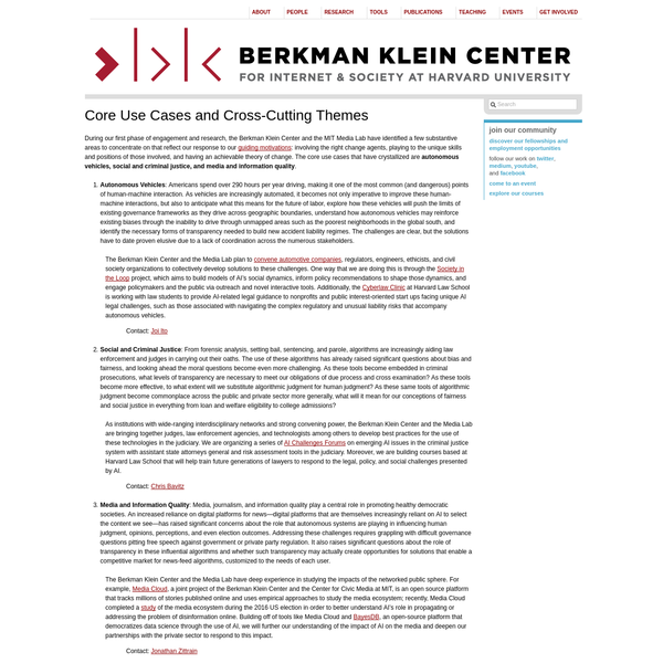 During our first phase of engagement and research, the Berkman Klein Center and the MIT Media Lab have identified a few substantive areas to concentrate on that reflect our response to our guiding motivations: involving the right change agents, playing to the unique skills and positions of those involved, and having an achievable theory of change.