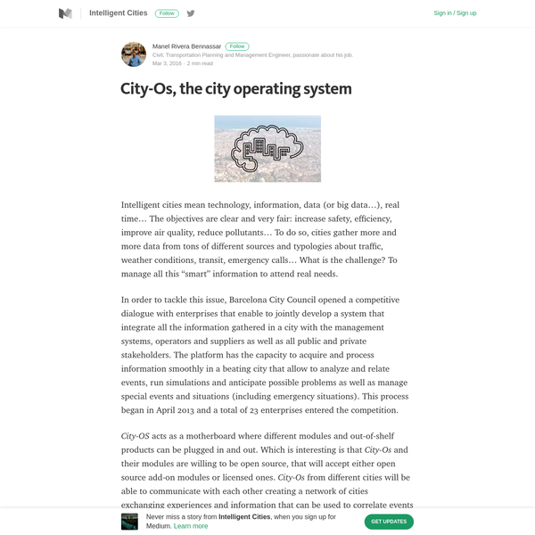 City-Os, the city operating system - Intelligent Cities - Medium