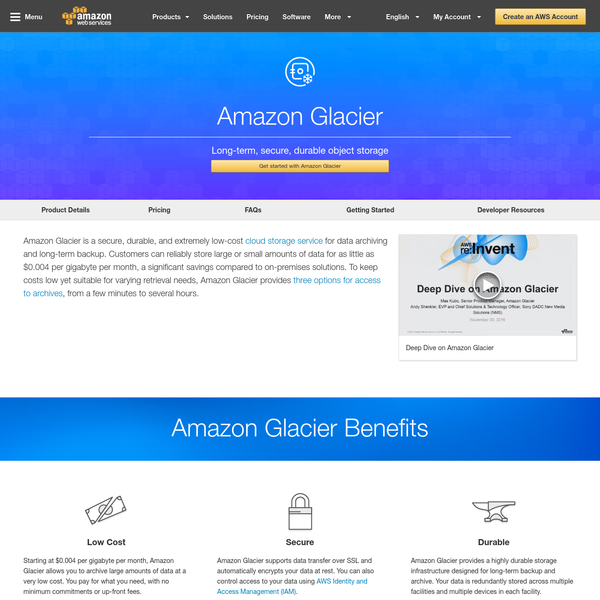 Searching for a reliable, secure, and inexpensive service to back up and archive data? Amazon Glacier replaces tape at a fraction of the cost.