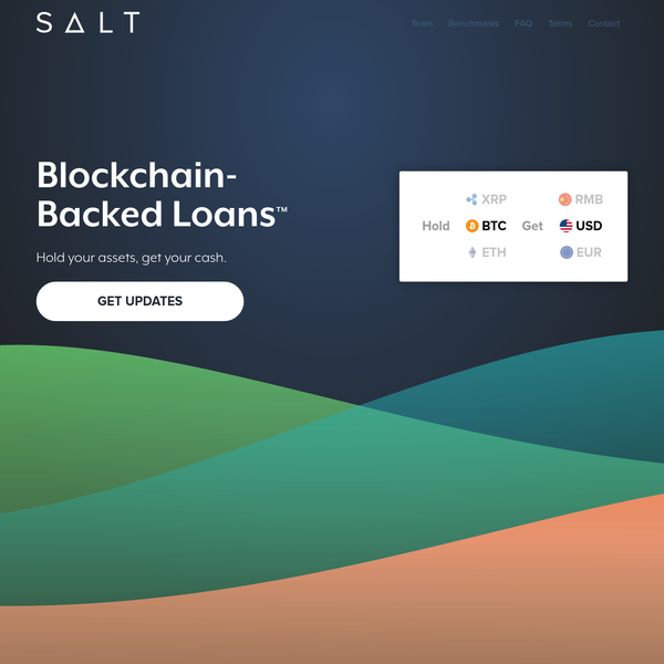 SALT's Secure Automated Lending Technology allows you to keep your bitcoin, ethereum & crypto and get your cash. Competitive interest rates & no credit check