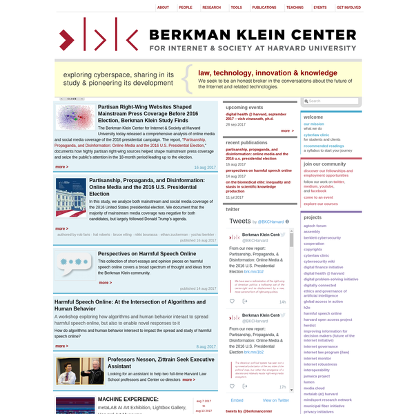 "The Berkman Klein Center for Internet & Society at Harvard University today released a comprehensive analysis of online media and social media coverage of the 2016 presidential campaign. The report, "" Partisanship, Propaganda, and Disinformation: Online Media and the 2016 U.S."