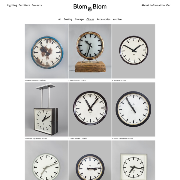 Clocks | Product Categories | Blom & Blom