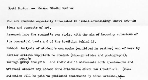 Senior Studio Seminar Syllabus, UNC Greensboro, 1977.  https://twitter.com/david_getsy/status/899782998450720770
