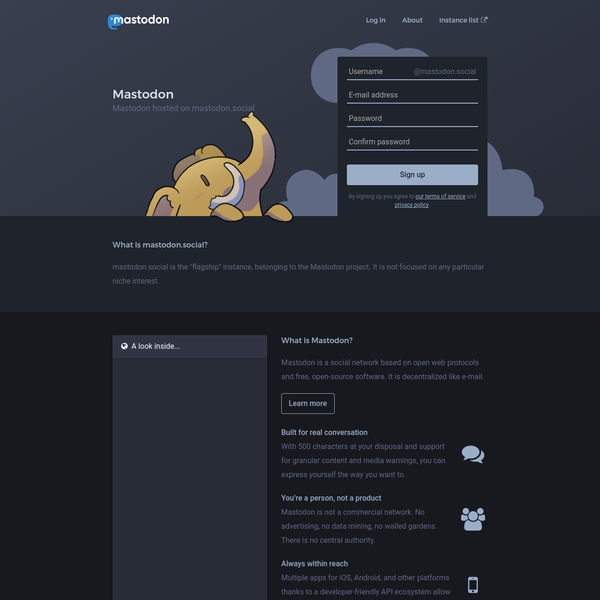 "mastodon.social is the ""flagship"" instance, belonging to the Mastodon project. It is not focused on any particular niche interest."