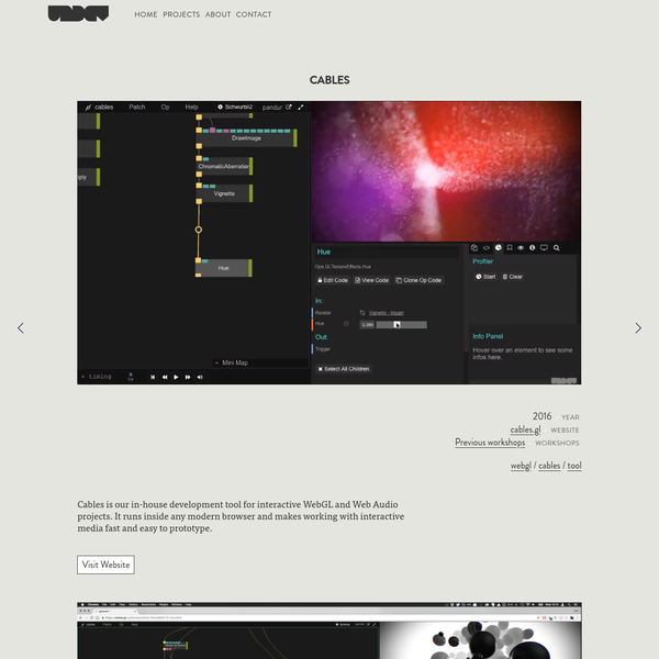 Cables is our in-house development tool for interactive WebGL and Web Audio projects.