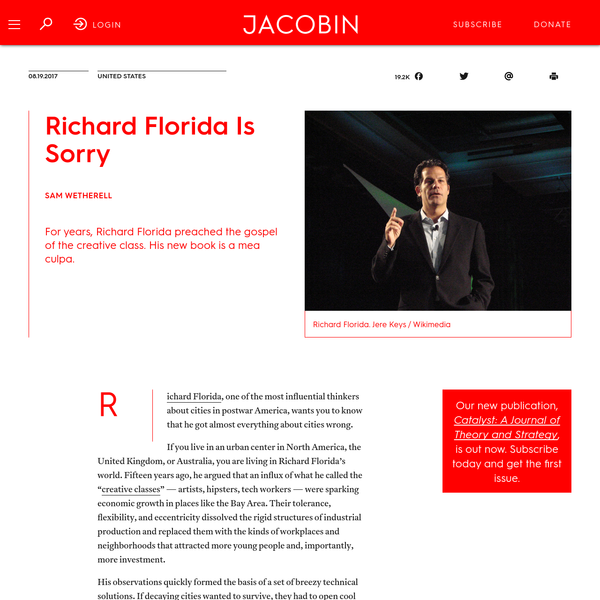 Richard Florida Is Sorry