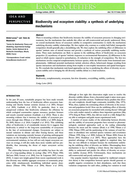 Biodiversity and ecosystem stability: a synthesis of underlying mechanisms