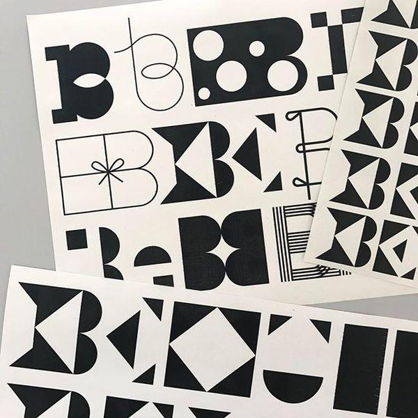 """270 Likes, 3 Comments - Bureau Grusenmeyer (@laurengrusenmeyer) on Instagram: """"B e ♣️B e 🎵B e ◼️B e ✔️ #bureaugrusenmeyer #typedesign #sketches #be #be #be"""""""