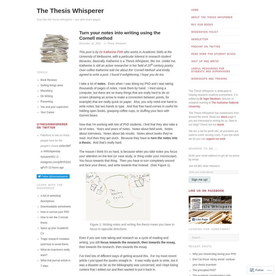 thesis whisperer cornell method
